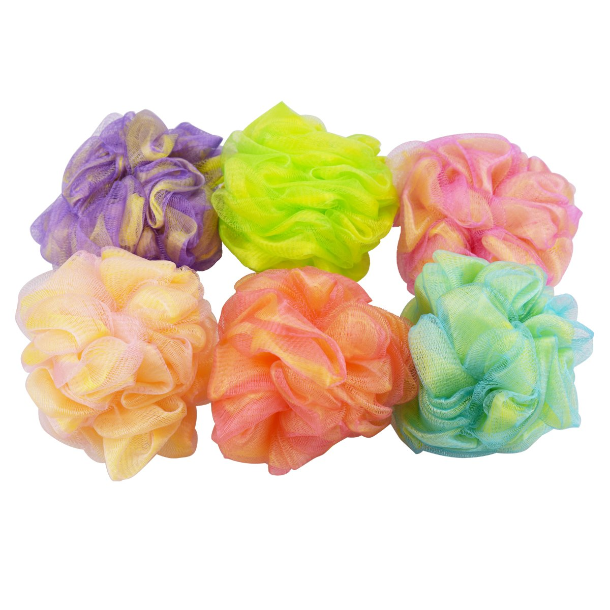 Set of 6 - High Quality Mesh Shower Sponges / Exfoliation Body Puffs / Bath Scrubbers, Assorted Colors, (50g/pc) Y2