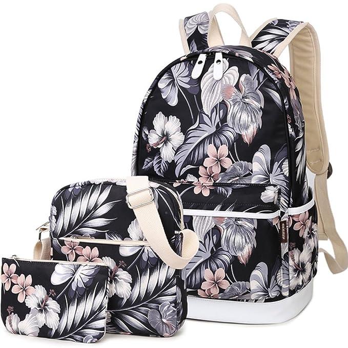 94864d2a23 HeyYoo Fashion High Capacity Canvas Backpack Set Cute Laptop School Bag for Teen  Girls