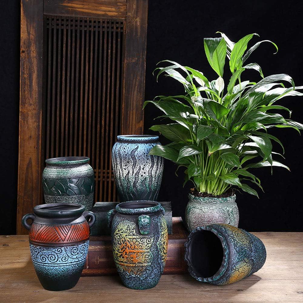 XHZJ Estilo de ollas de cerámica Vintage 6, ollas de condimento, ollas maestras, vasijas de Barro ásperas, Personalidad Creativa, macetas de Flores mediterráneas pequeñas y Medianas: Amazon.es: Jardín