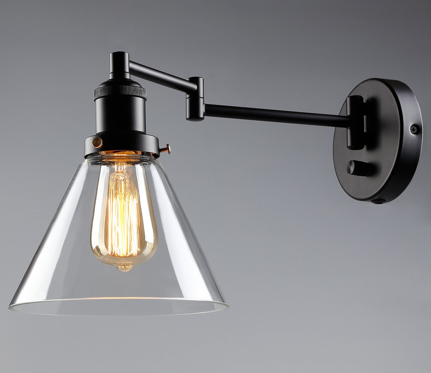 1 Light Industrial Glass Wall Sconce Edison Vintage Style Clear Lamp Wiring Diagram Transparent Lampshade Plug N Play Hardwire Lobby Hallway Kitchen Dining Room