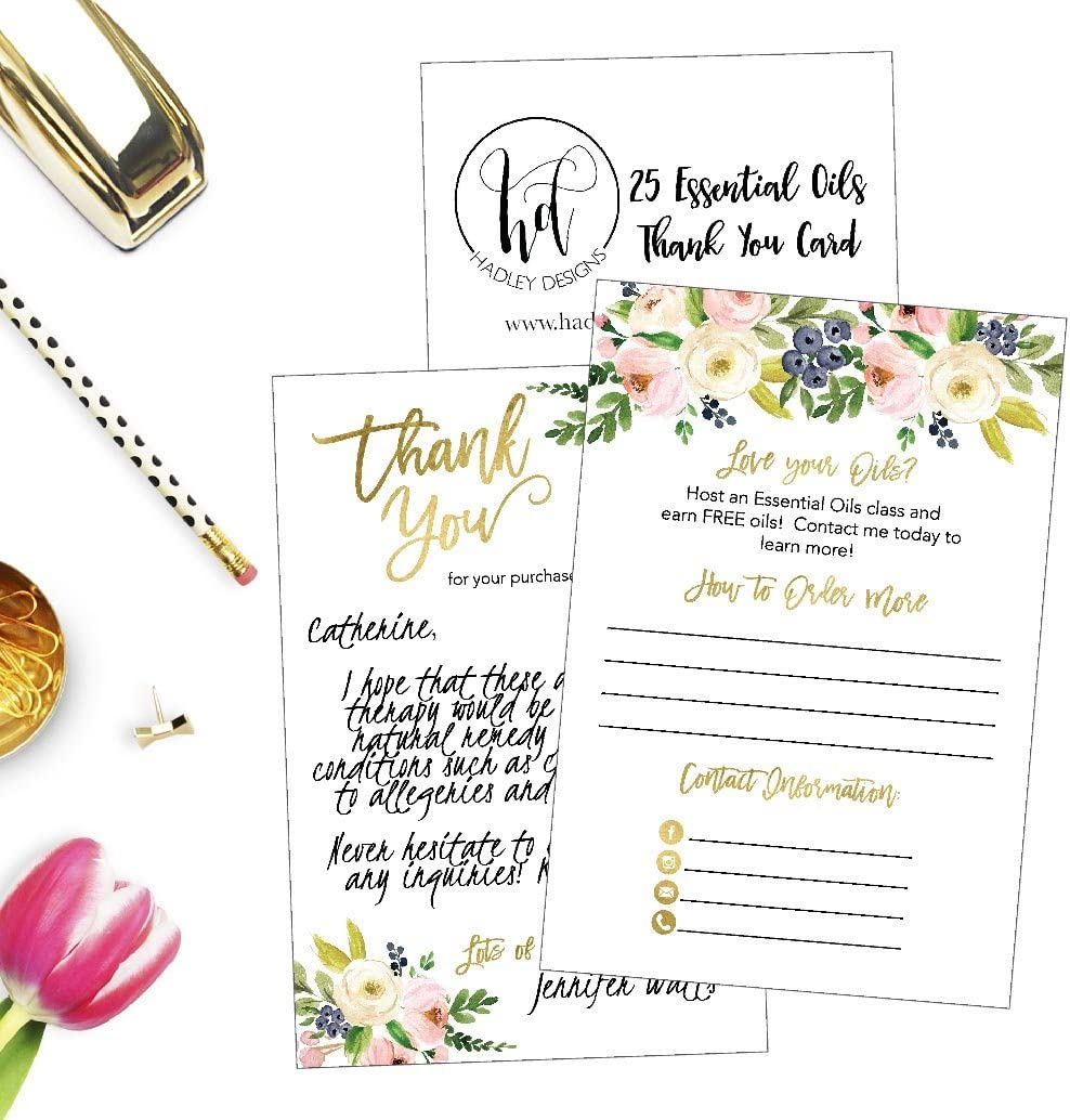 Business Marketing Supplies for Party Favors 25 4x6 Floral Essential Oils Thank You Cards for Independent Distributors Join My Team Starter Accessories Information for Beginners