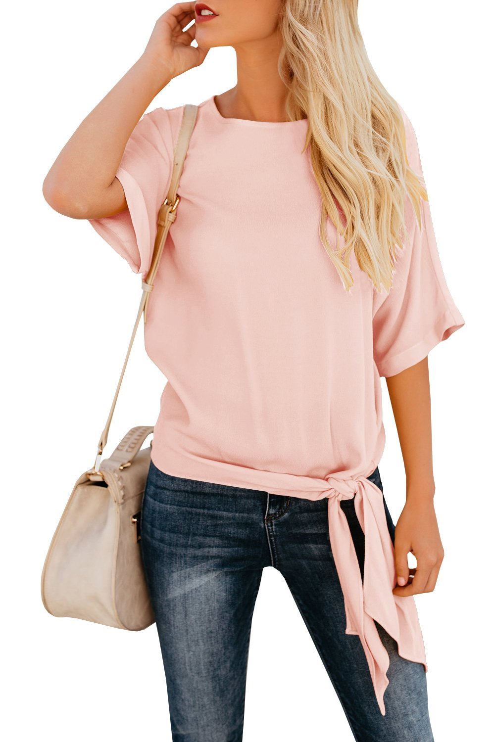 Niitawm Womens Blouse Casual Knot Tie Front Loose Fit Half Sleeve Tee Top T-Shirt Blouses (M, Pink)