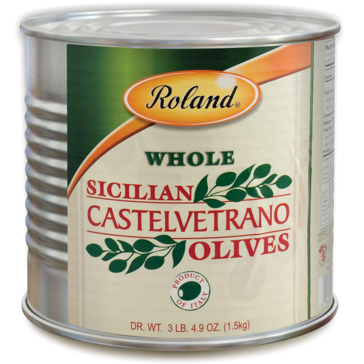 Roland Foods Whole Castelvetrano Olives, Specialty Imported Food, 3 Lb 4.9 Oz Can