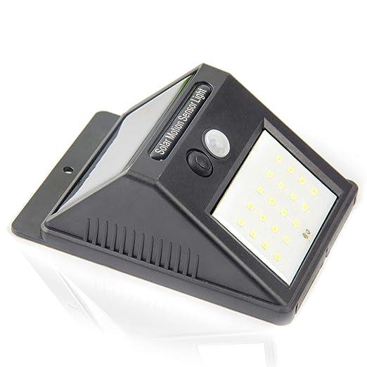 Luz de solar 20 LED, Lámparas Solares Luces de Exterior con Sensor de movimiento de