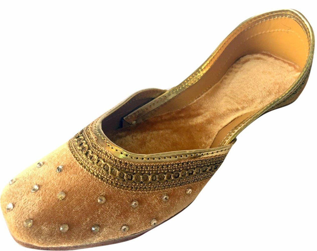 Step n Style Women Flat Velvet Khussa Shoes Punjabi Jutti Traditional Mojari Loafer Pumps DD183G