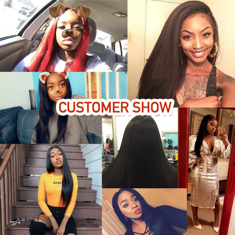 Pizazz 8A Brazilian Straight Hair 16 18 20 and 14 inch Lace Frontal Closure with Bundles Natural Black Straight Human Hair Weave 3 Bundles With Closure by Pizazz (Image #7)
