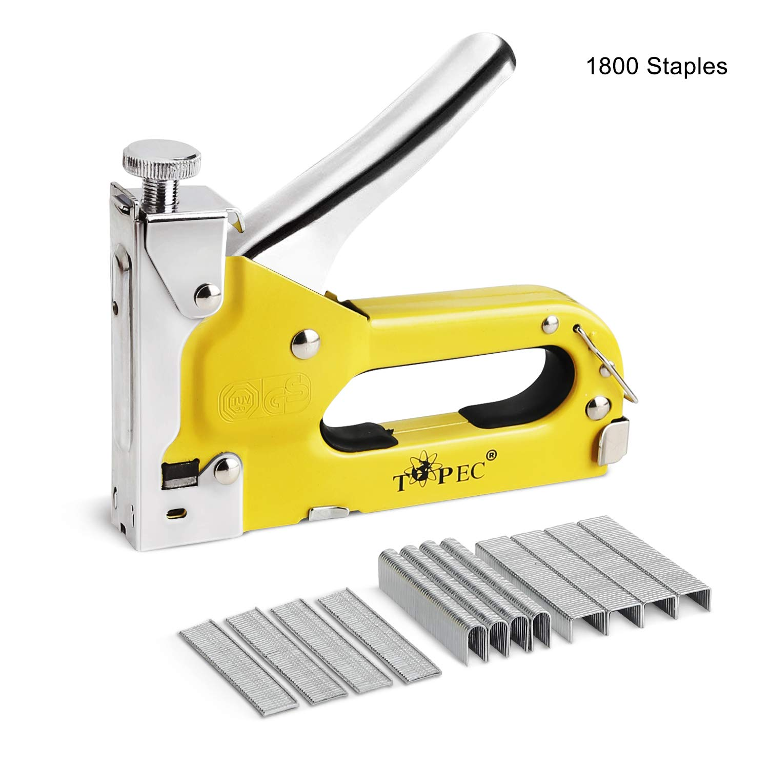 Staple Gun, 3 in 1 Heavy Duty Nailer Gun with 1800 Staples - Manual Gun for Upholstery, Fixing Material, Decoration, Carpentry, Furniture