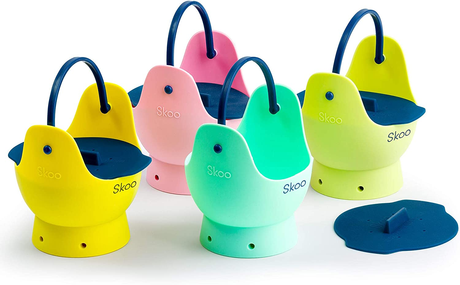 Egg Poacher - Skoo Silicone Egg Poaching Cups + Lids + Ebook - Egg Cooker Set - Perfect Poached Egg Maker - For Stove Top, Microwave and Instant Pot (Green, Red, Yellow, Turquoise, Dark Blue)