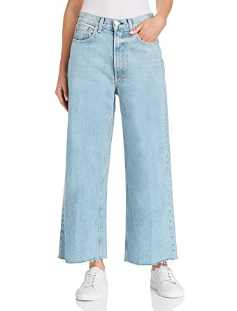 d830474d92a H HIAMIGOS Women Casual Loose Fit Bootcut Jeans Wide Straight Leg Frayed  Hem at Amazon Women's Jeans store