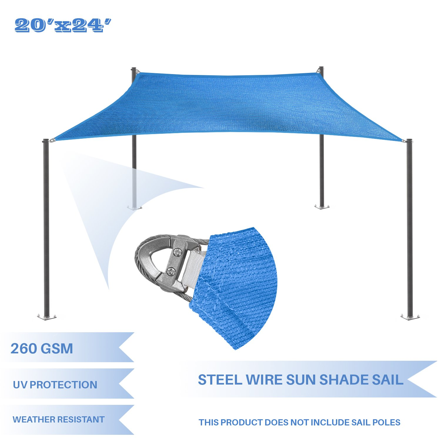 E&K Sunrise Reinforcement Large Sun Shade Sail 20' x 24' Rectangle Heavy Duty Strengthen Durable Outdoor Garden Canopy UV Block Fabric (260GSM)- 7 Year Warranty - Blue