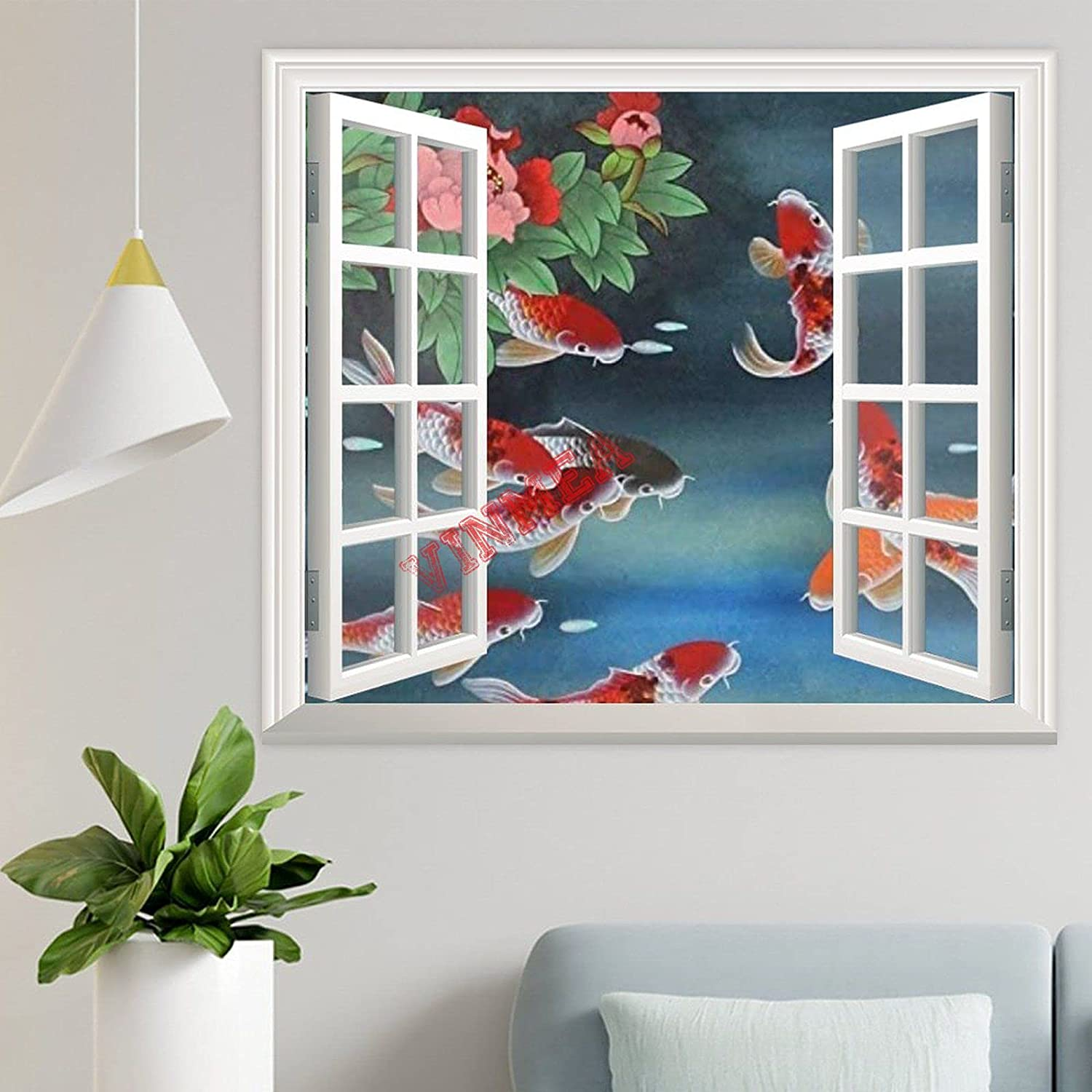 3D Wall Decals Window Looking Out,Koi Fish Wall Stickers Murals Wallpaper Art Decor for Living Room,Home Walls,Kids Bedroom,Nursery (24