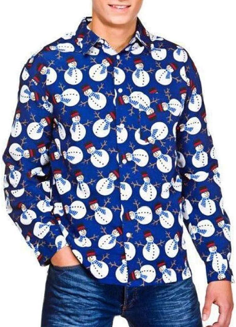 Joe Wenko Men Xmas Curved Hem Lapel Neck Classic Print Button Down Shirts