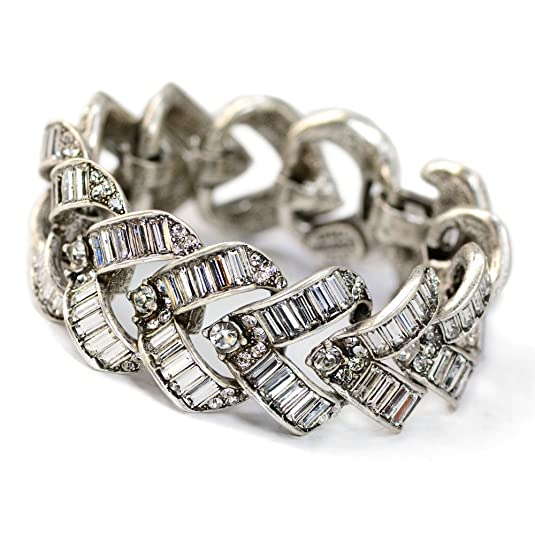 Vintage Style Jewelry, Retro Jewelry Sweet Romance Art Deco Vee Baguette Crystal Wedding Bracelet $189.99 AT vintagedancer.com