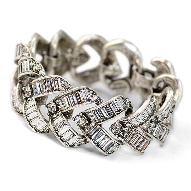 1930s Costume Jewelry 1930s Vee Baguette Vintage Crystal Bracelet $189.99 AT vintagedancer.com