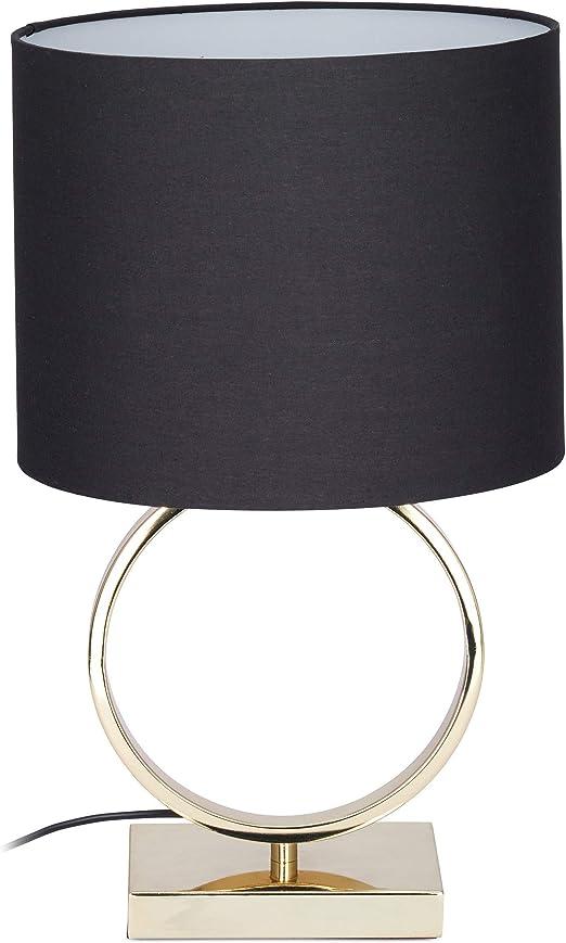 Relaxdays 10024799 Table Socle Or Metal Lampe De Chevet Abat Jour