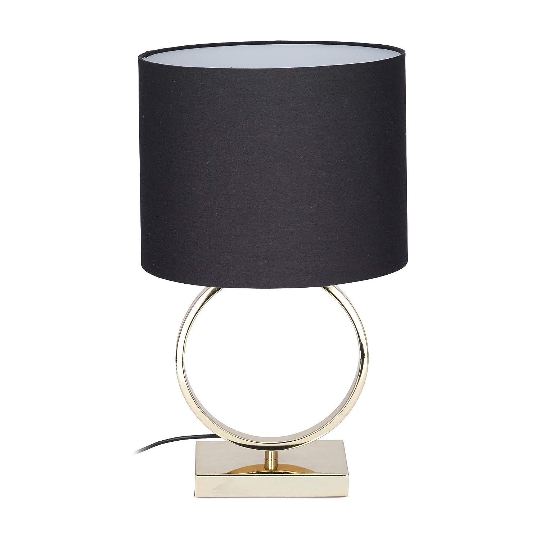 Relaxdays Tischlampe Schwarz, runder Lampenschirm, originelles Design, E27, Nachttischlampe, HxD: 46 x 28 cm, black/gold