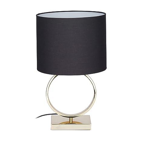 Relaxdays Lámpara de Mesa, Pantalla Redonda, Diseño, E27, Mesilla de Noche, Negro/Dorado, 46 x 28 cm, 40 W