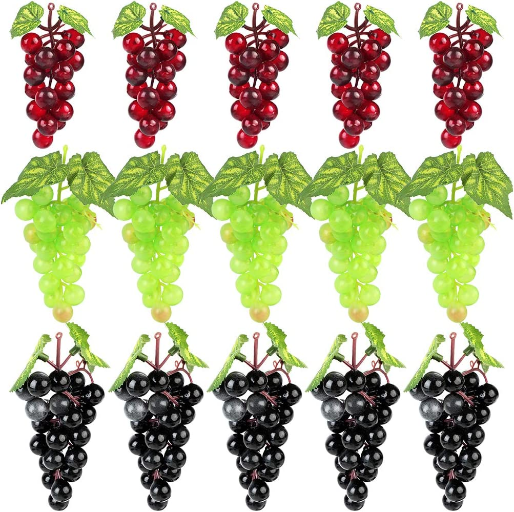 JUSTDOLIFE 15 Bunches Artificial High Simulation Grapes Fake Grapes Decorative Grapes in Black,red,Green for Wedding, Home Decoration, Kitchen, Office and Photography Props