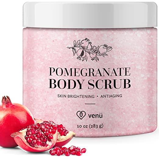 Pomegranate Salt Body Scrub - Daily Exfoliating Treatment to Brighten Skin - Anti-Aging, Anti-Microbial and Anti-Inflammatory Properties - For Varicose and Spider Veins and More - By Venu