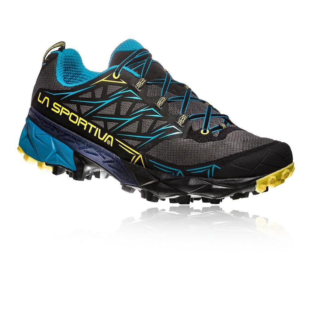 La Sportiva Akyra, Zapatillas de Trail Running para Hombre 46 EU|Multicolor (Carbon/Tropic Blue 000)