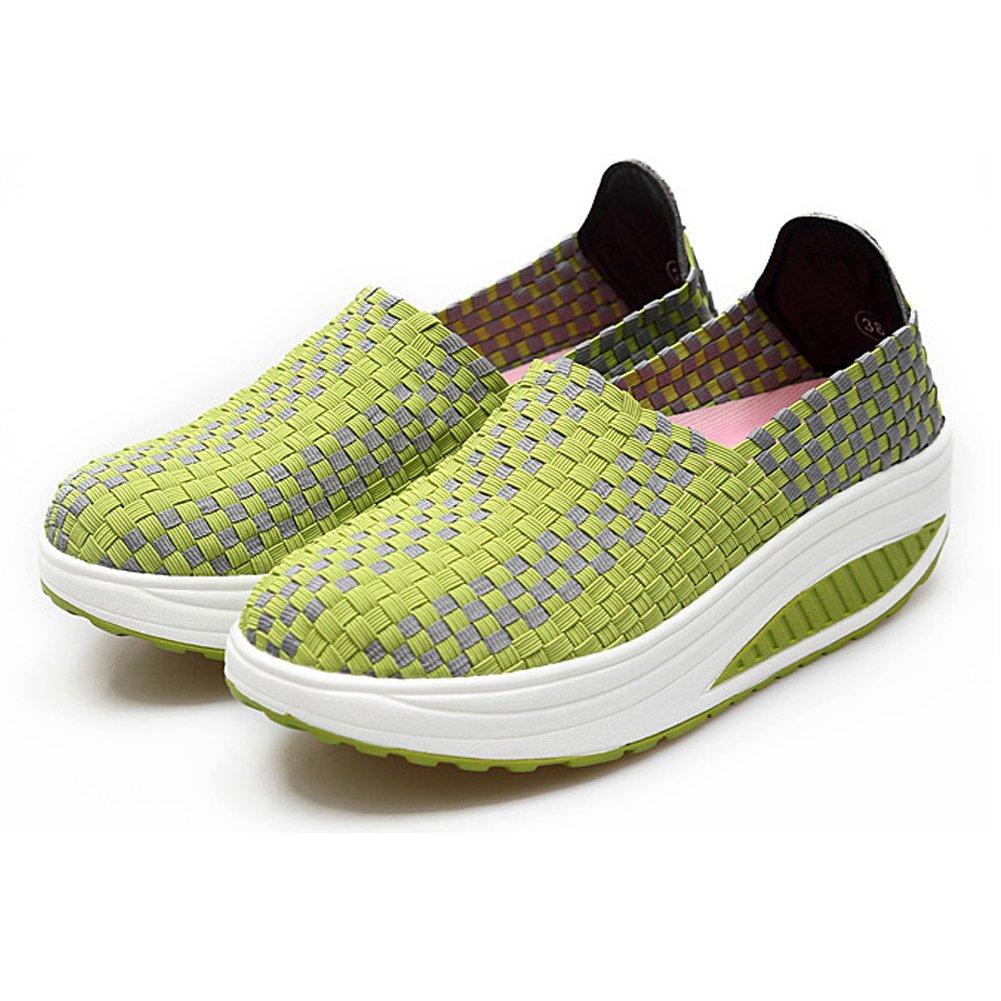 Konfor Women's Lightweight Woven Shape Ups Sneaker Fitness Work Out Slip-on Shoes B0749YS9LG 6 B(M) US = EU36|Green