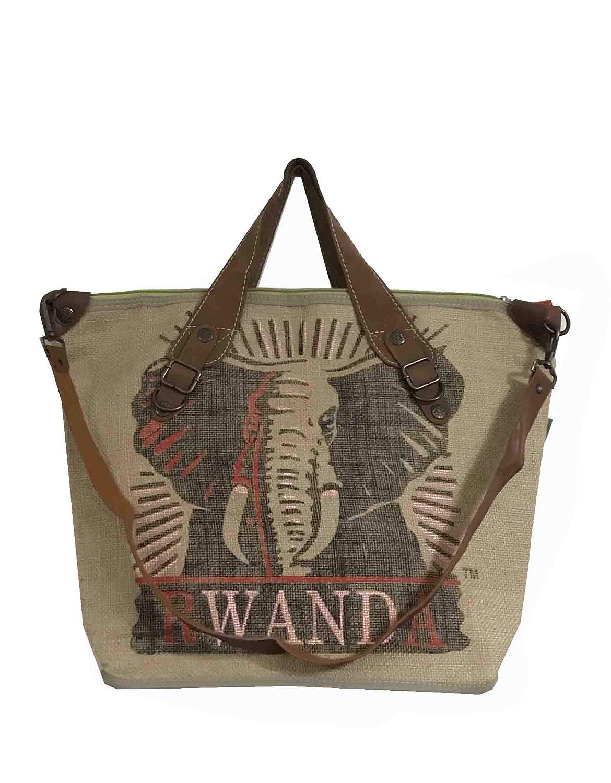 HOGACA coole Damen Handtasche Mod.4 Elefant aus recycelten Kaffeesack Kaffeebohnensack-Leinen City Shopper in 9 tollen Farben B07MDD2JSH Henkeltaschen Stilvoll und lustig