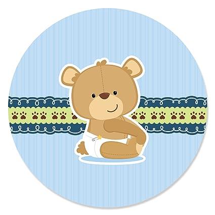 Amazon Boy Baby Teddy Bear Baby Shower Circle Sticker Labels