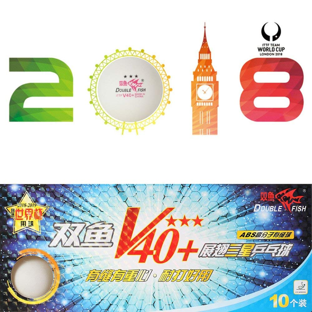 3 Sterne 40mm Wei/ß Tischtennisb/älle ABS Kunststoff Ges/äumt B/älle Training Ping Pong B/älle Erduo 10 Teile//Satz Doppel Fisch V40 Wei/ß