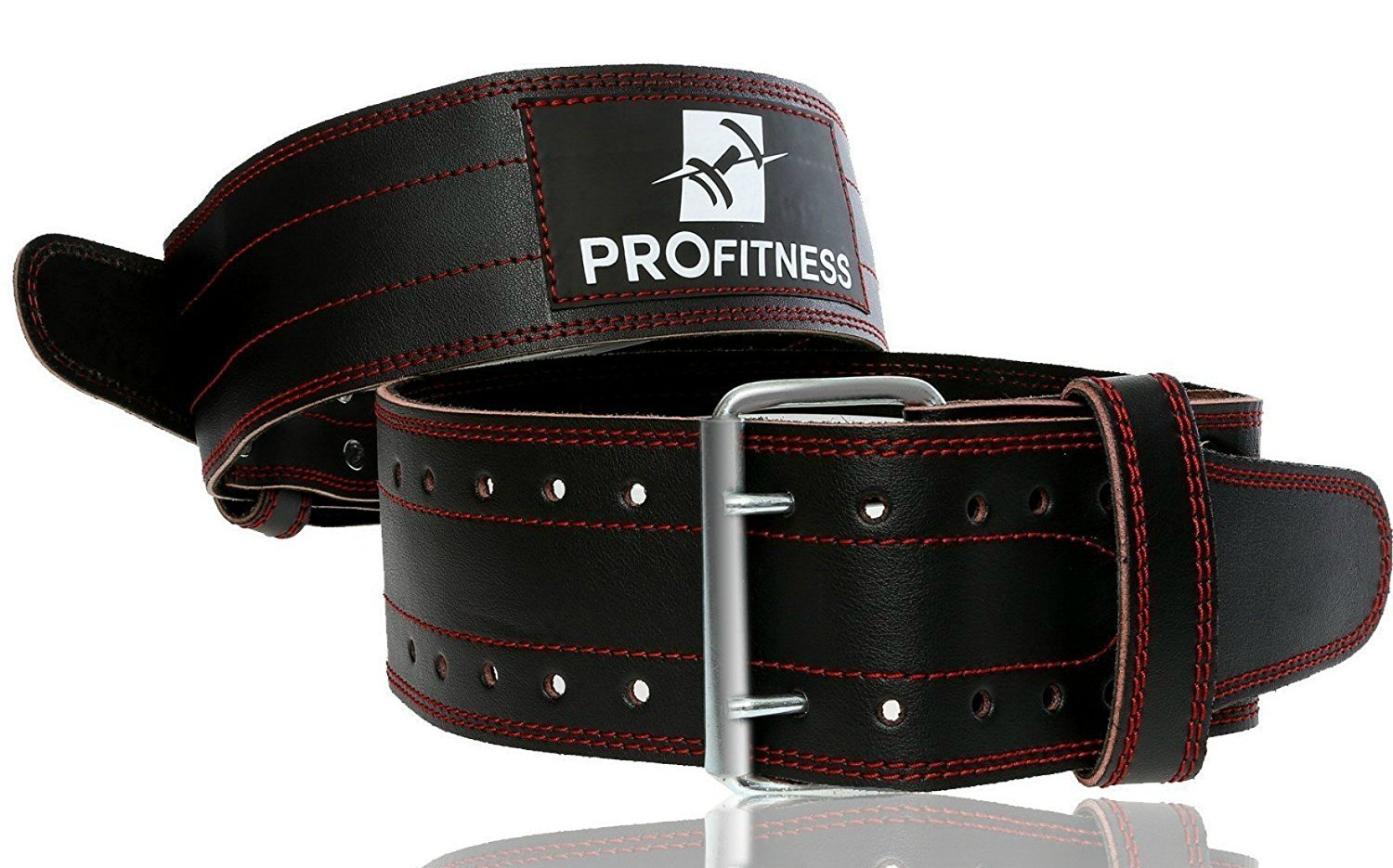 ProFitness Genuine Leather Workout Belt (4 Inches Wide) - Proper Weight Lifting Form - Lower Back Support for Squats, Deadlifts, (Black/Red, X-Large 42''-49'' (Waist Size not Pant Size))