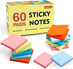 Sticky Notes, Shuttle Art 60 Pads Bright Stickies, 6 Assorted Colors, 3x3 Inches, 100 Sheets/Pad Sticky Pads for Home, School, Office