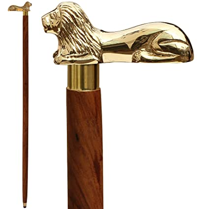 48a66fcc9fc The King Cane - SouvNear 37.2 quot  Brown Wooden Walking Stick - Wood Cane  with Golden