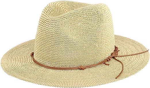 Chapeau en Paille Femme Adulte Chapeau de Soleil Anti-UV L/éger Sympa Respirations Bord Large Cadeau pour Plage Jardin Vacances Loisir Randon/ée VTT