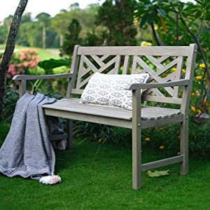 Cambridge Casual Solid Teak Wood Maine Garden Bench, 4-Foot, Weathered Grey