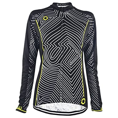 HIRBGOD Stylish Line Print Women Cycling Jersey Long Sleeve Lightweight  Spring Autumn Lady Bike Shirt ( e9f47806e