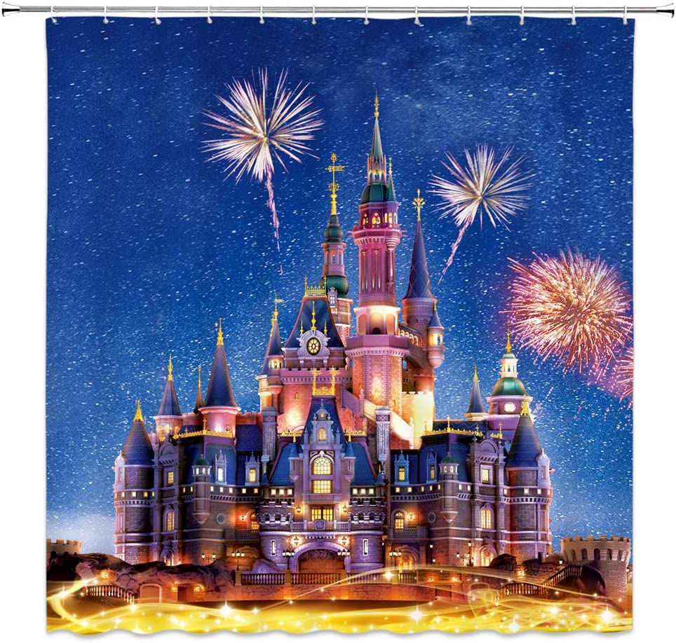 Fantasy Castle Shower Curtain Bathroom Decor Castle Night View Fireworks Starry Sky Scenery,Waterproof Polyester Fabric Home Bath Accessories Hanging Curtains Sets With Hooks 69 X 70 Inch Blue Red