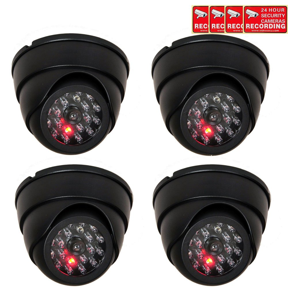 VideoSecu 4 Pack Dome Dummy Fake Infrared IR CCTV Surveillance Security Cameras Imitation Simulated Blinking LED with Security Warning Stickers C4B by VideoSecu