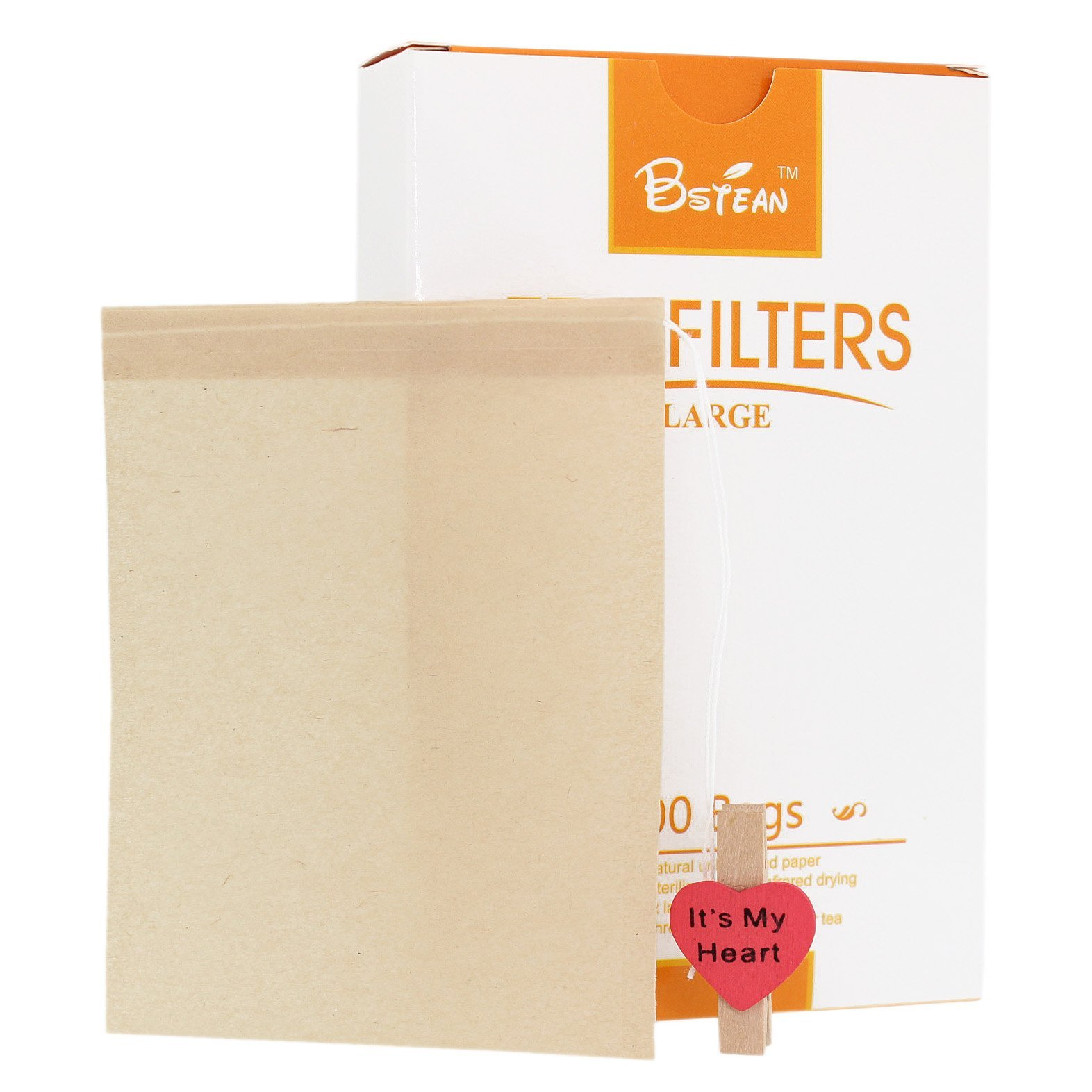 Bstean Tea Filter Bags Large Disposable Infuser with Drawstring 100% Natural Unbleached Paper for Loose Leaf Tea with Free Clip (100 PCS)