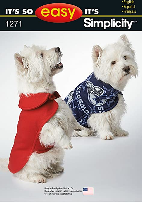 Simplicity 1271 Size A It\'s So Easy Dog Coat in 3 Sizes Sewing ...