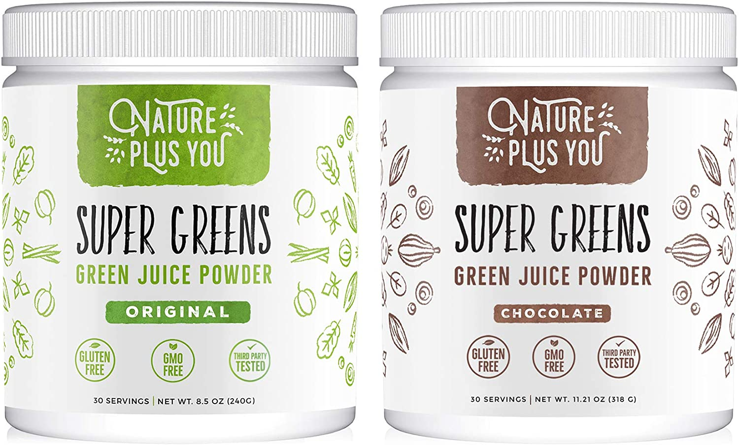 Super Greens Powder and Chocolate Greens Includes Spirulina, Alfalfa, Spinach, Acai, Probiotics and Digestive Enzymes, No Artificial Sweeteners,