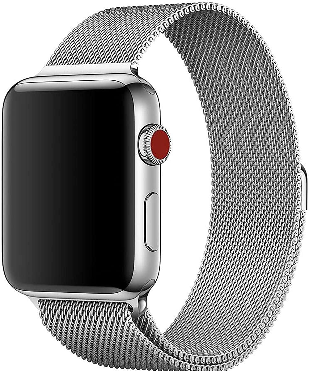 Stainless Steel Magnetic Absorption Strap for Apple Watch Metal Mesh Quick Release Wristband Sport Loop Compatible for Apple Watch Series 6/SE/5/4/3/2/1