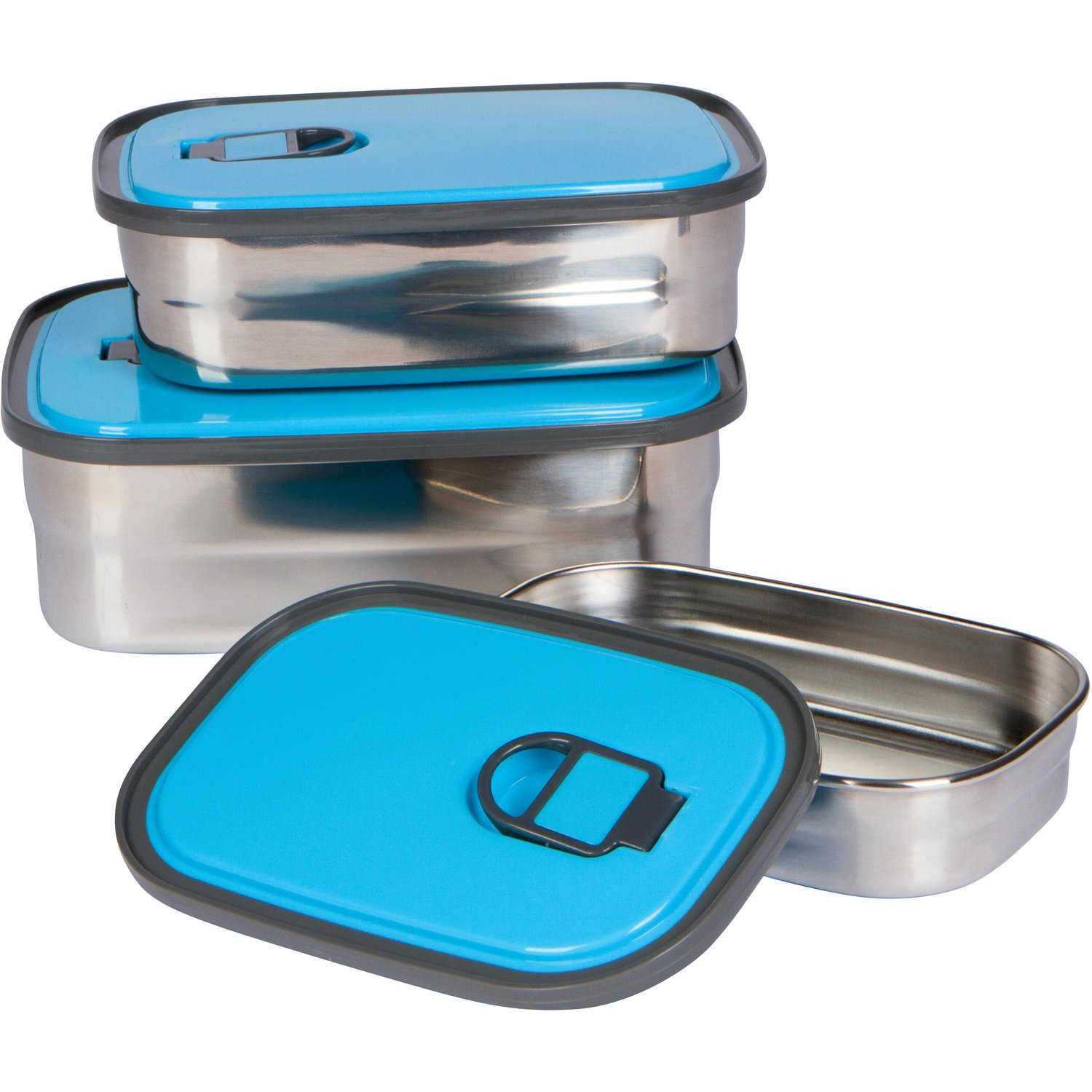 Bambusa Stainless Steel Lunch Food Containers Bento Box, Leak Proof Seal, Healthy, Kids, Adults, Outdoor Picnic Meals, BPA Free, Blue by Bambusa