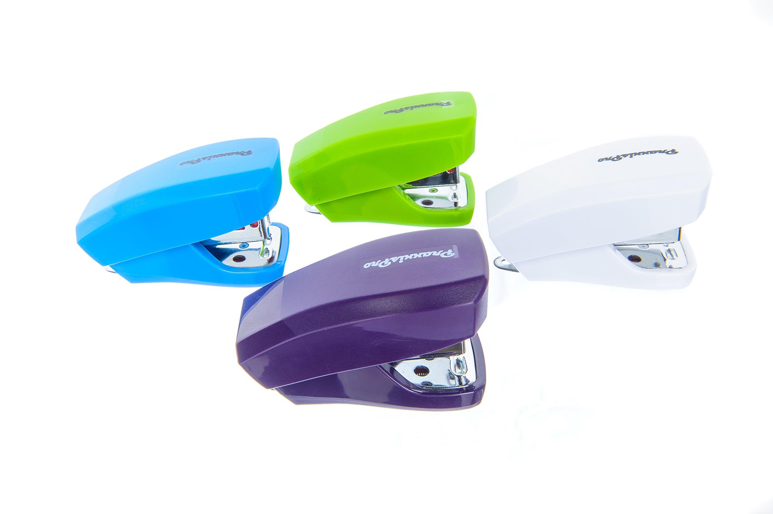 PraxxisPro Stapler Set, Mini Staplers, Built-In Staple Remover, Set of 4, Lifetime Warranty (Green, White, Blue, Purple)