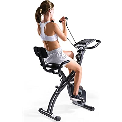 MaxKare Folding Magnetic Upright Exercise Bike w/Pulse Sensor/LCD Monitor Indoor Cycling Bike Stationary Bike Recumbent Exercise Bike with Arm Resistance Bands, Perfect for Home Use