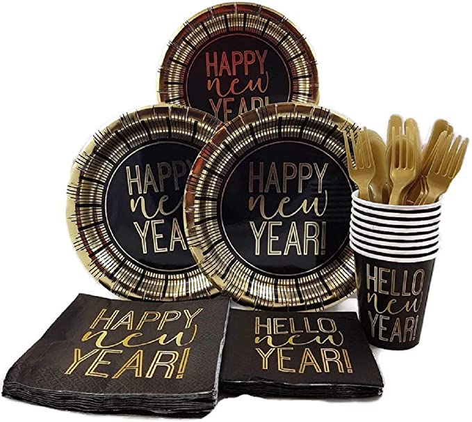 Partybloom New Years Disposable Tableware with New Years Party Plates Cups Napkins Serves 20 for New Year Party Decorations New Years Party Supplies