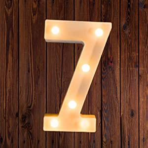 LED Marquee Number Lights Sign Light Up Marquee Letter Lights Sign for Night Light Wedding Birthday Party Battery Powered Christmas Lamp Home Bar Decoration 7