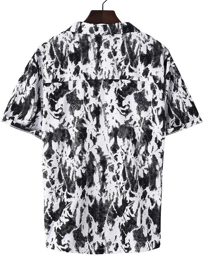 Sunnywill - Camisa de Manga Corta para Hombre con Estampado de Rayas de Colores, Sudaderas de algodón, Color Negro, Azul Oscuro L Negro: Amazon.es: Relojes