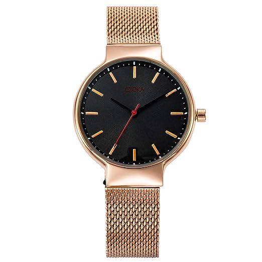 85c81dded088 Relojes de Cuarzo para Mujer con Pantalla analógica de Esfera Negra y  Brazalete de Acero Inoxidable