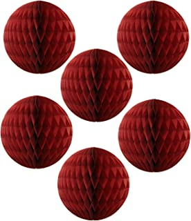 product image for 6-pack 5 Inch Maroon Honeycomb Tissue Paper Balls
