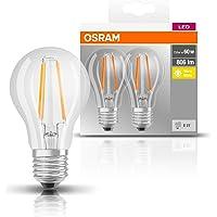 Osram LED Base Classic A lamp, in zuigervorm met E27-fitting, niet dimbaar, vervangt 60 watt, filamentstijl helder, warm…