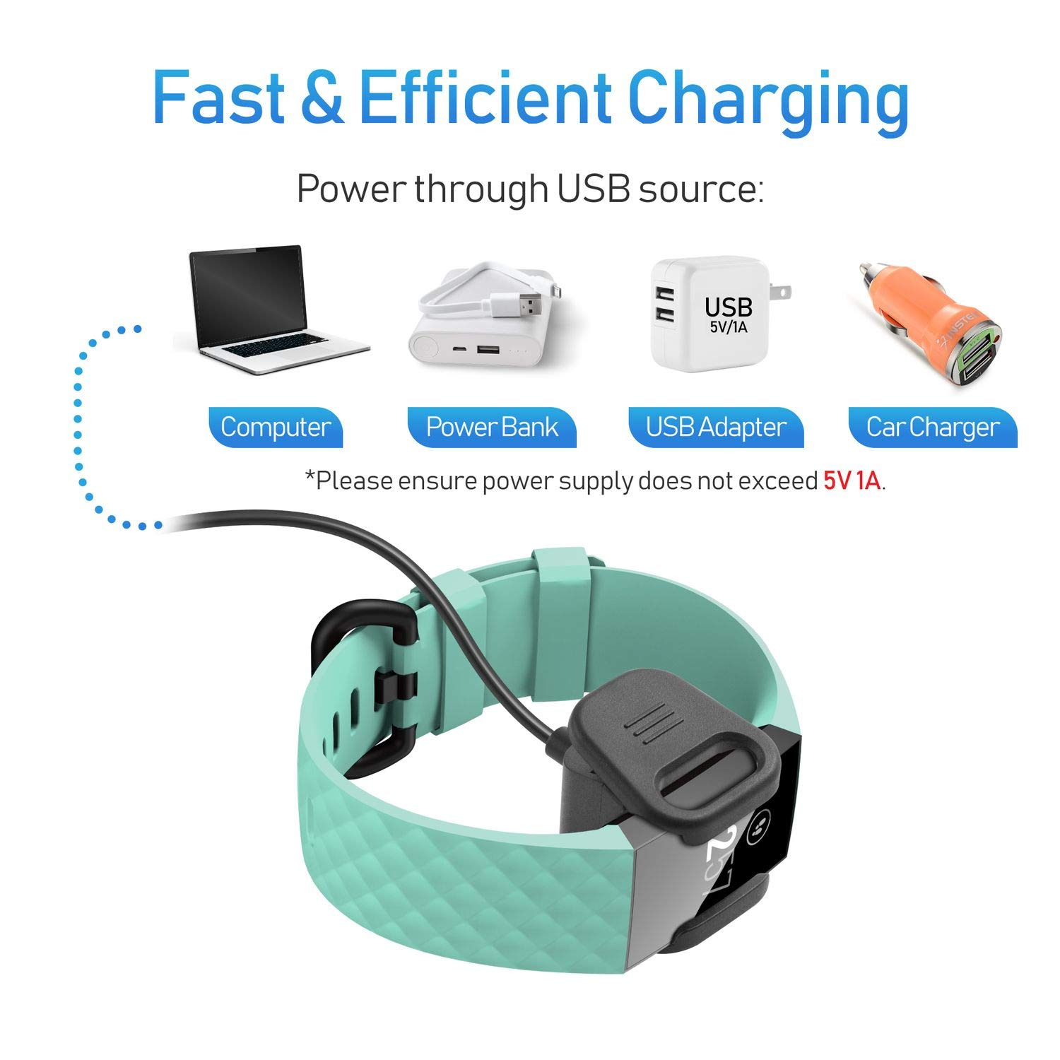 12 Inch Insten Charger for Fitbit Charge 3 Charge 3 Special Edition SE Wireless Fitness Tracker Band 1-Pack Replacement USB Charging Cable Cord Cradle Dock Adapter Compatible with Fitbit Charge 3